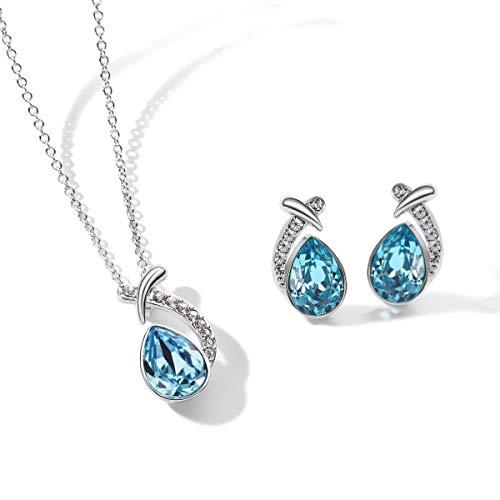 T400 Jewelers Conjuntos de Collar y Pendientes para Mujer Colgante de Gota de Agua con Cristal de Azul,38+5cm