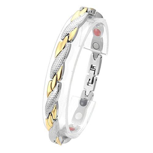 Jovivi Damen Magnetarmband Edelstahl Magnetische X-Form Armreif 4-in-1 Magnete Armband Schlangenmuster Design Silber-Gold
