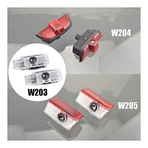 AWQC Proyector de luces con logotipo de coche, 2 unidades, compatible con Mercedes Benz Clase C W203 W204 W205 C180 C200 C230 C240 C280 C320 C350 AMG 4MATIC lámpara de bienvenida