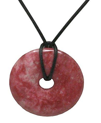 Thulit Donut im Geschenkset mit Lederkette, 40 mm/Edelstein Anhänger rosa rot