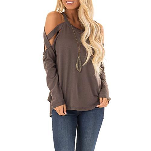Yvelands Top Soldes Femme Couleur Unie Col Rond Sweat-Shirt Loisirs LâChes Manches Longues Pullover(Kaki,XXLarge)