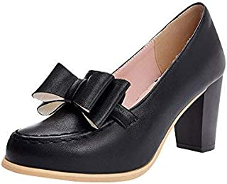 Womens Bow Block Heel Loafers Pumps