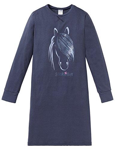 Schiesser Mädchen Pferdewelt 1/1 Nachthemd, Blau (Dunkelblau 803), 116