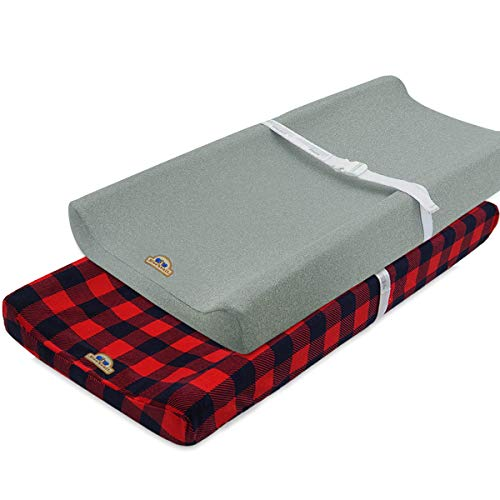 Super Soft and Stretchy Changing Pad Cover 2pk by BlueSnail (red buffola Plaid)