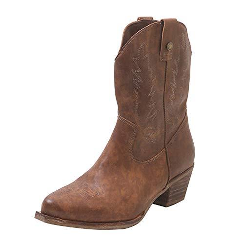 Sfit Damen Vintage Western Cowboystiefel Spitz Zehen Halbhohe Stiefel Cowboy Boots mit Blockabsatz...