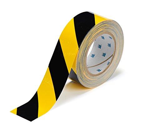 Brady ToughStripe Floor Marking Tape - Yellow and Black, Non-Abrasive Tape - 2 Width, 100 Length - 104317,Black on Yellow