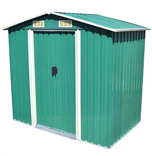 ZRB Baule da Giardino, Metal Garden Storage Capannone con 4 Prese d'Aria, Outdoor Backyard Tools Sheds Utility Organizer con Doppia Ante Bloccabili Green 80.3'x52 x73.2,Multibox