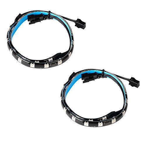 J&D RGB Tiras de luz LED, 2-Paquete Tira de Luz LED RGB Magnética con Encabezado RGB de 3 Pines para Placa Base/Caja de PC, 13.8 Pulgadas