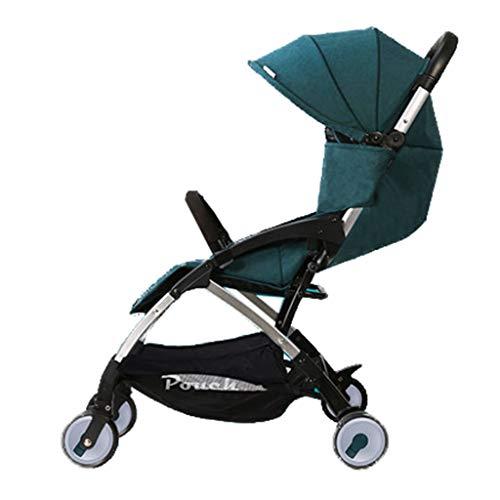 Kinderwagen, kan opvouwen opvouwen en lichte kinderwagen, kan het vliegtuig nemen, One Step vouwen, geschikt voor 0-36 maanden baby groen