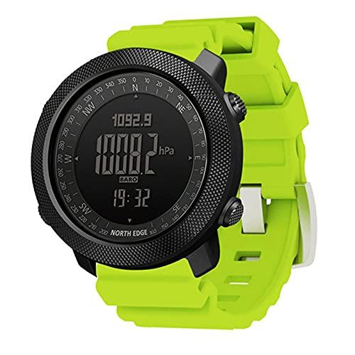 QZH Reloj para Hombre Al Aire Libre, Reloj Digital Deportes Correr Natación Ejército Militar Altímetro Barómetro Brújula Impermeable 50 M Relojes Inteligentes Multifuncionales,Verde