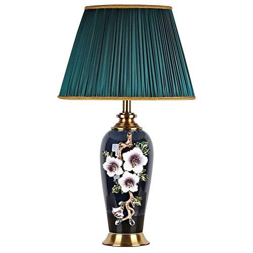 Voir le design minimaliste Dormitorio Estudia Lámpara de noche lámpara europea Lámpara de mesa de cerámica Esmalte Lámpara Pied Calidad de lujo (Size : A)
