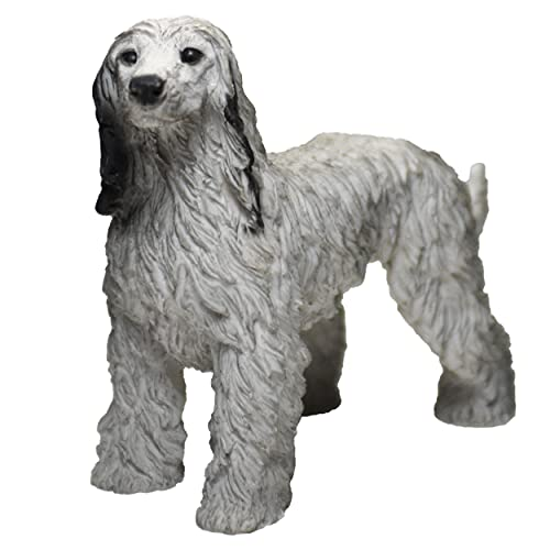 Figura Galgo Afgano, Gris, Marrón, Estatua de Perro, Escultura de Resina, Altura: 13cm. (Gris)
