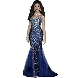 Sweetheart Blue Shiny Mermaid Evening Dress With Rhinestone