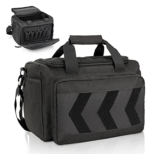 Sunfiner Multi-Function Tactical Gun Range Bag for Handguns and Ammo, Deluxe Padded Pistol Case with Magazine Gear Accessories Holsters & Pouch, for Hunting Shooting Range Outdoor Activities (Black)