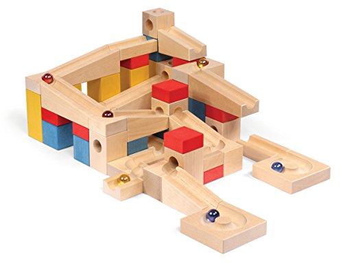 VARIS toys Holz-Kugelbahn XL Set 68 Teile Holzbausteine aus Birkenholz FSC®