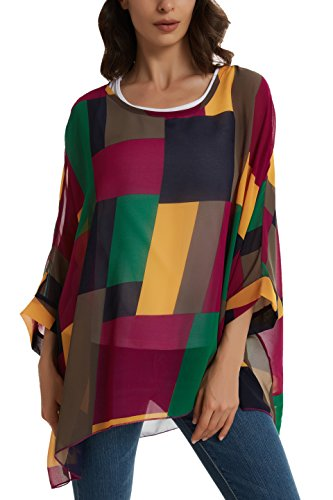 Womens Off Shoulder Batwing Sleeve Semi Sheer Tops Blouse Colorful