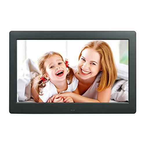 10.5 Inch Digital Picture Photo Frame 1080 720P Music Photo Video Player with Remote Control 4 Windows Display/Multi-Slideshow/Calendar/Clock Alarm Function Electronic Photo Picture Frames Digital Frames Picture