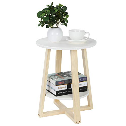 DELMO Nachttisch mit 2 Ebenen, runder Nachttisch mit Aufbewahrung Modernes Weiß, 40 x 40 x 50,5 cm