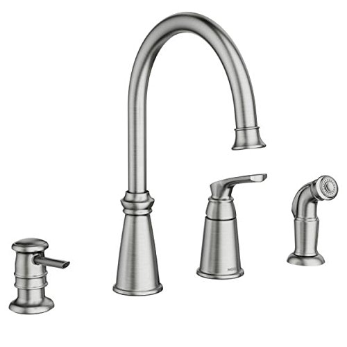 Moen 87044SRS Whitmore One-Handle High Arc 4 Hole Kitchen Faucet