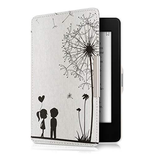 kwmobile Hülle kompatibel mit Amazon Kindle Paperwhite - Kunstleder eReader Schutzhülle (für Modelle bis 2017) - Pusteblume Love Schwarz Weiß