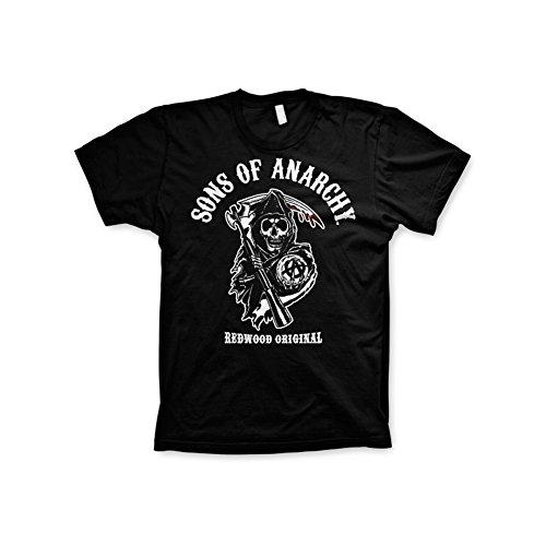 Sons of Anarchy Licenza Ufficiale Redwood 3XL,4XL,5XL Uomo Maglietta (Nera), 3X-Large