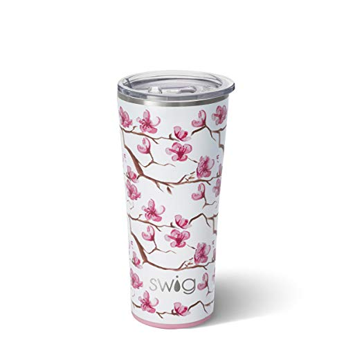 Swig Life 22oz Triple Insulated Stainless Steel Skinny Tumbler with Lid Dishwasher Safe Double Wall and Vacuum Sealed Travel Coffee Tumbler in Cherry Blossom Print
