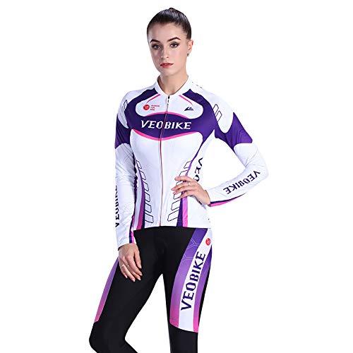 Veobike Dames Lente/Herfst Fietsen Jersey, Snelle Droog Mountainbike Shirt en Ademende Gel Gewatteerde Broek, Outdoor Sportkleding
