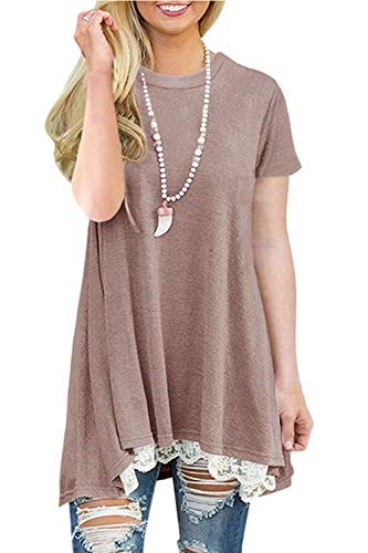 NICIAS Dames Kant Casual Korte Mouw Tuniek Tops Losse Blouse T-shirt
