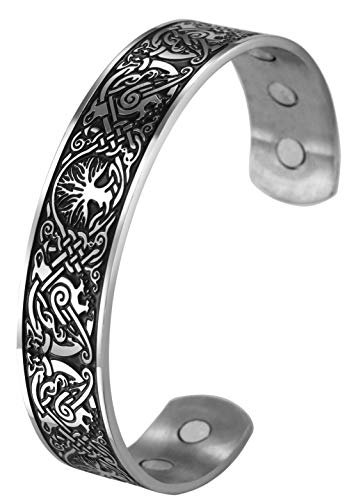 VASSAGO Tree of Life Cuff Bangle Viking Celtic knot Griffin Pattern Health Care Stainless Steel Bracelets Metal Wristband for Men