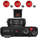 Tapa de Zapata para Cámaras Fuji Fujifilm XE4 XT4 XT3 XT30 XPRO3 etc + 3 X Botón de Liberación (Negro/Rojo)