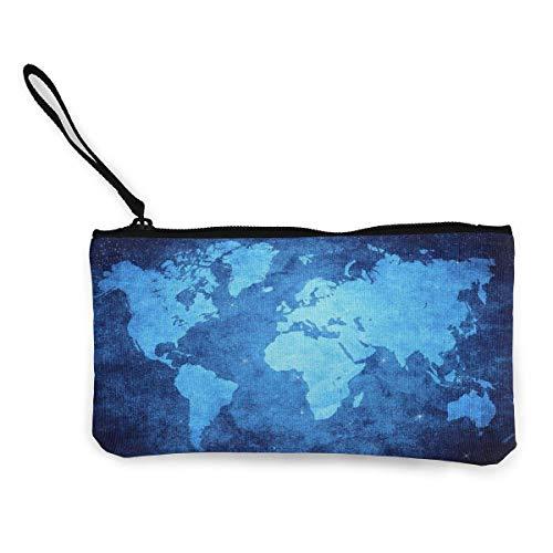 XCNGG Monederos Bolsa de Almacenamiento Shell Blue World Map