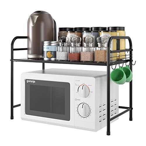 Homfa Küchenregal 2 Ebenen Mikrowelleregal aus Eisen Standregal mit Reihen Haken Mikrowellenregalständer Schwarz Mikrowellenhalter 61x31x46cm