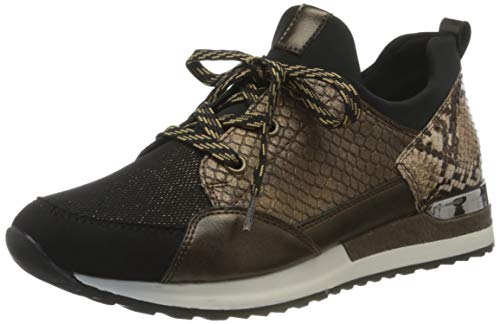 Remonte Damen R2503 Sneaker, Schwarz/Schwarz-Bronze/Antik/Antik/Schwarz/Brown/ 24, 42 EU