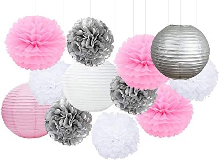 Pink New arrival Silver White Party Tissue Lantern OFFicial Set-DI Poms Paper Pom