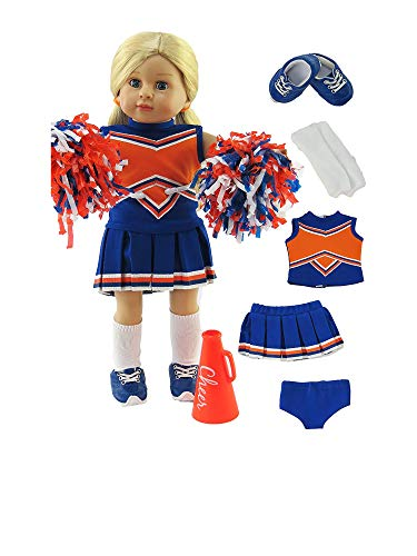 American Fashion World Orange and Blue Cheerleading Outfit with Accessories Made for 18 inch Dolls Such as American Girl Dolls