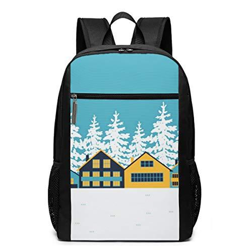 Schulrucksack Chalets Cottages Häuser, Schultaschen Teenager Rucksack Schultasche Schulrucksäcke Backpack für Damen Herren Junge Mädchen 15,6 Zoll Notebook