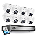ZOSI H.265+ 1080p 16 Channel Security Camera System,16 Channel CCTV DVR with Hard Drive 4TB and 8 x 1080p Indoor Outdoor Dome Camera, 80ft Night Vision, 105° View Angle, Remote Control, Alert Push