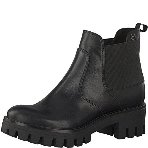 Tamaris Damen Chelsea Boots 25441-21,Frauen Stiefel,Halbstiefel,Stiefelette,Bootie,Schlupfstiefel,hoch,Blockabsatz 4cm,Black Uni,EU 41