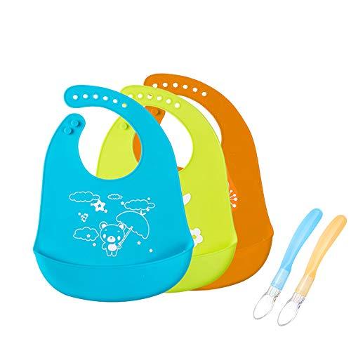 DoGeek babero silicona Pack de 3 baberos bebe alimentación, refrigerio y bebida, set de regalo para bebé (5PCS)