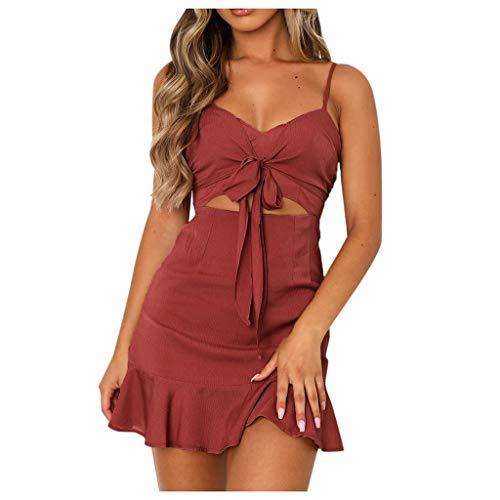 YANFANG Mini Vestido Rojo Sexy para Mujer, con Cuello en V y cinturón con Correa de Espagueti para Mujer, de Color Rojo, Cierre la Cintura, con colantes, XL,Red