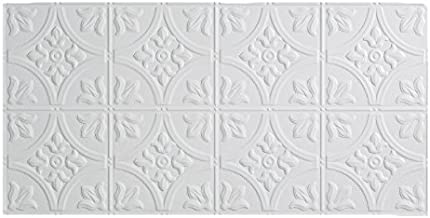 Fasade Easy Installation Traditional 2 Matte White Glue Up Ceiling Tile / Ceiling Panel (2' x 4' Panel)