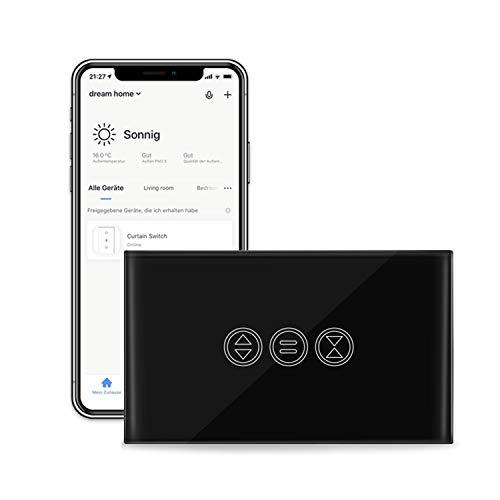 LoraTap Interruttore Tapparelle WiFi Nero, Interruttore Parete Touch Smart Comando per Tapparelle Elettriche e Persiane Avvolgibili, Controllo Vocale con Alexa e Google Home, Controllo App Smart Life