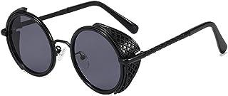 QWKLNRA - Gafas De Sol para Hombre Marco Negro Lente Negra Retro Redonda Steampunk contra-UV Gafas De Sol Mujeres Vintage Punk Shades Hombres Uv400 Ciclismo Viajes Pesca Gafas De Sol Al Aire Libre