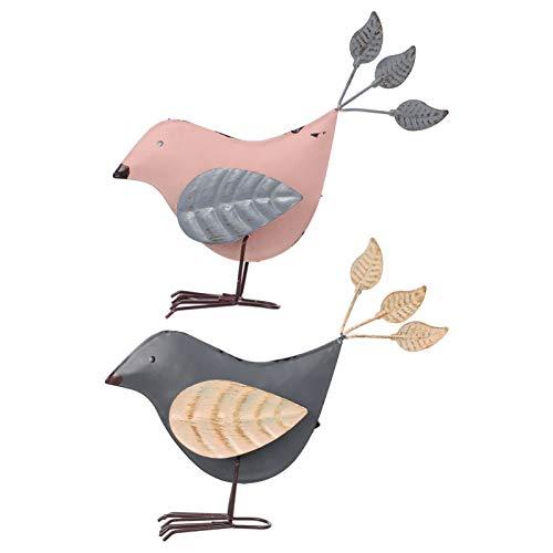YARNOW Set di 2 statuette da giardino in metallo a forma di uccello da giardino, decorazione da giardino, per soggiorno, decorazione da tavolo, primavera, Pasqua, prato, terrazze, decorazione
