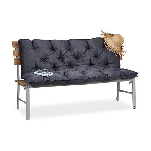 Relaxdays Gartenbank, Bankauflage mit Rückenlehne, Sitzauflage und Rückenpolster Auflage mit Rückenteil für Bank, Grau, 62,5x55x13,5 cm