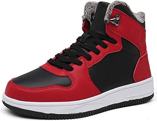Mujer Zapatos Invierno Botas de Nieve Forradas Calientes Hombre Casual Zapatillas Sneaker de Piel Botines Planas para Unisex Adulto Rojo(Negro) 41 EU