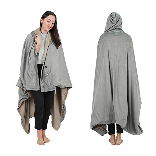 """Wearable Electric Blanket, Portable Poncho Wrap, Cordless Rechargeable Heated Shawl Blanket, Super Soft & Warm Fleece, Home Office & Travel Use, Machine Washable, Tan, 70""""X60"""""""