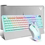 Mechanical Keyboard & Mouse & Mousepad Gaming Kit, RGB Macro Wired 104 Keys Blue Switch Wrist Rest Mechanical Keyboard 10000 DPI Programmable Mouse Large Mouse Pad (31.5x12In) Advanced Combo, White