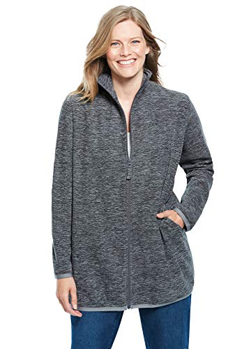 Woman Within Women's Plus Size Zip-Front Microfleece Jacket Fleece - 6X, Grey Marled
