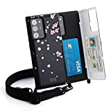 TORU CX Cross Compatible with Samsung Galaxy Note 20 Ultra 5G Case - Protective Dual Layer Wallet with Hidden Card Holder + ID Card Slot Hard Cover, Crossbody Strap & Mirror - Sakura Flowers